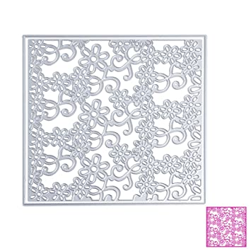 Bottone DIY Metal plantillas de corte plantilla para molde para DIY álbum de recortes, diseño de tarjeta de papel Craft Decoración (marco de flores): ...