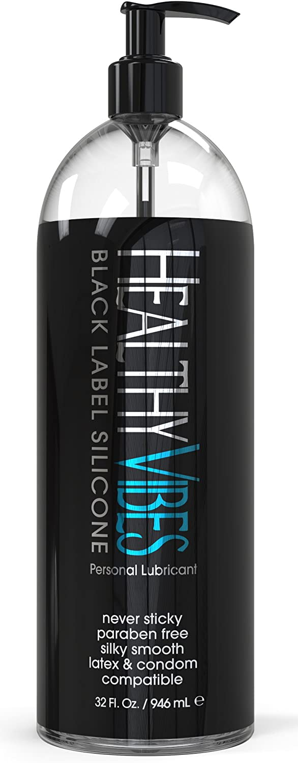 Silicone Based Personal Lubricant by Healthy Vibes, 32 Oz Long Lasting Sex Lube for Sensitive Skin on Women, Men, and Couples, Intimate Black Label (Paraben & Glycerin Free)