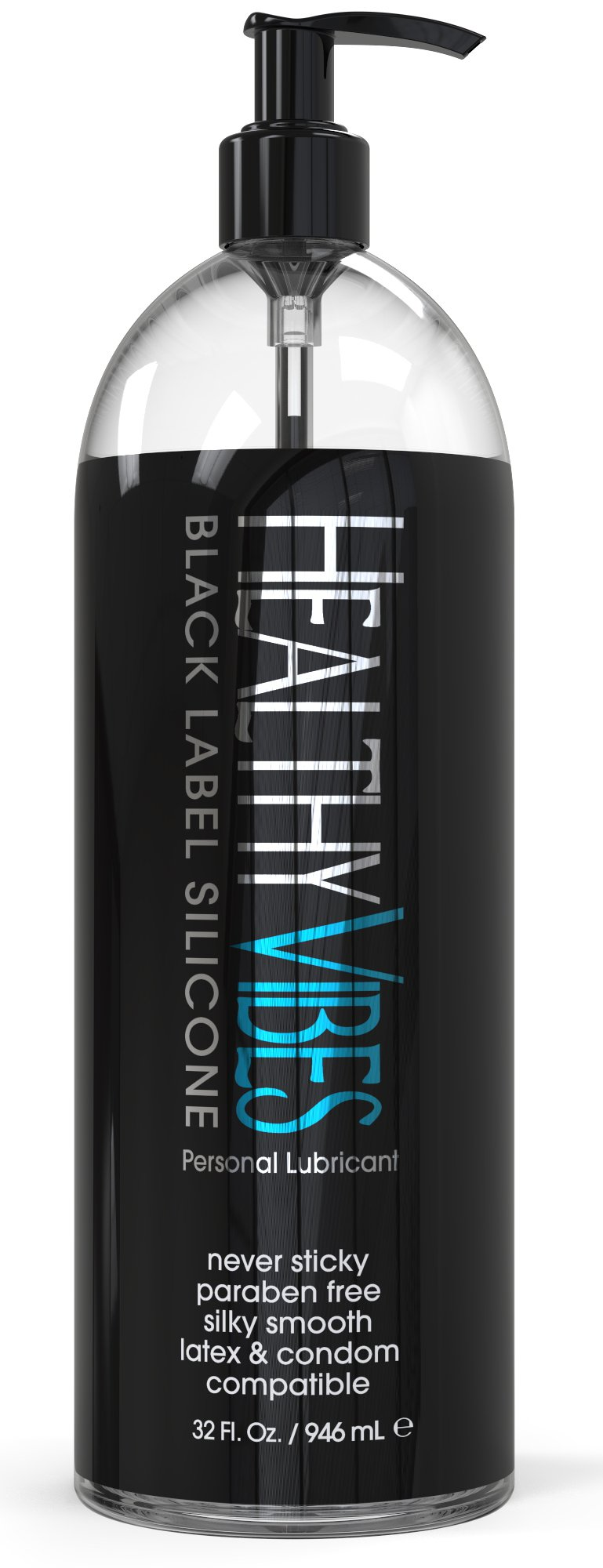 Silicone Based Personal Lubricant by Healthy Vibes, 32 Oz Long Lasting Sex Lube for Sensitive Skin on Women, Men, and Couples, Intimate Black Label (Paraben & Glycerin Free) by Healthy Vibes