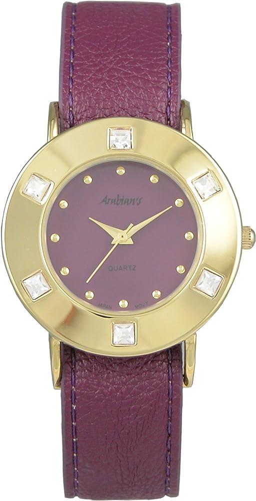 Arabians - Reloj de señora, maquinaria de cuarzo, correa morada ...