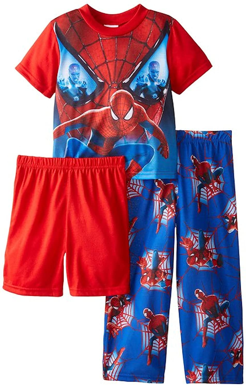 Marvel 3 Piece Spiderman Little /& Big Boys Pajamas Set