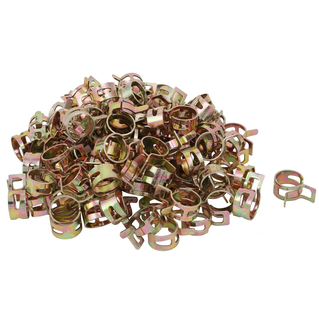 uxcell100 Pcs 12mm Spring Band Type Action Fuel Hose Pipe Air Clamp Bronze Tone a17091400ux0015