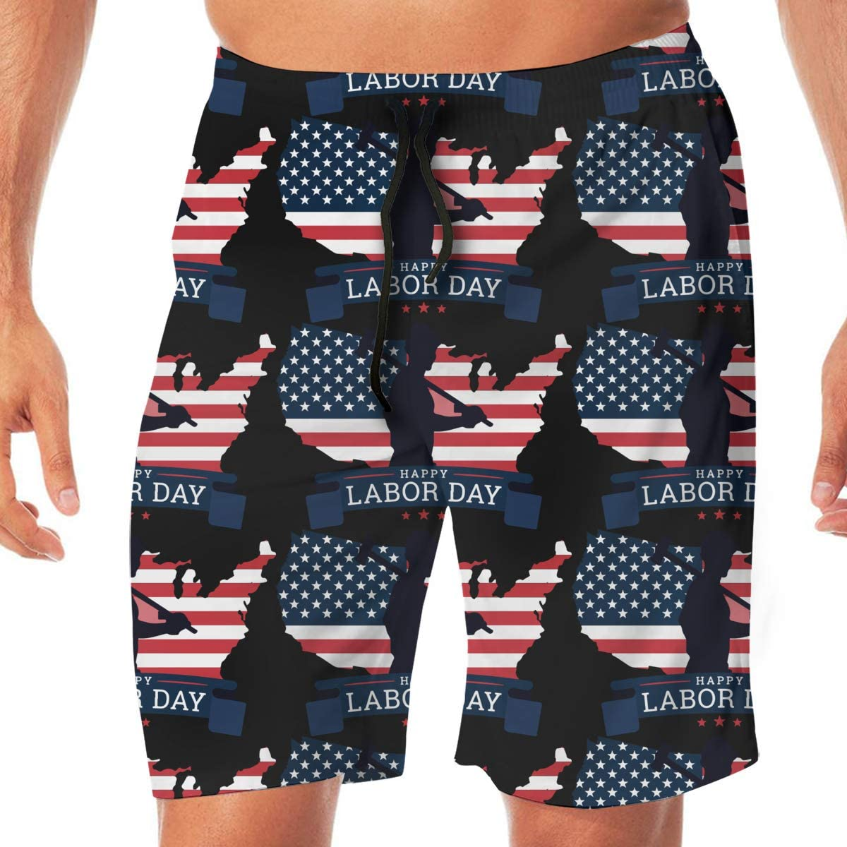 TAOHJS97 Happy Labor Day 6 Mens Quick Dry Board//Beach Shorts Lightweight Swim Trunks Best for Vacation