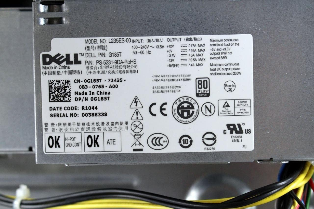 Dell Optiplex 580 SS BareBone Chassis With Power Supply Unit Fan Assembly 8HK66 G185T