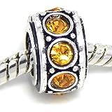 """Jewelry Monster Antique Finish """"Topaz"""" November Birthstone Spacer Charm Bead for Snake Chain Charm Bracelet"""