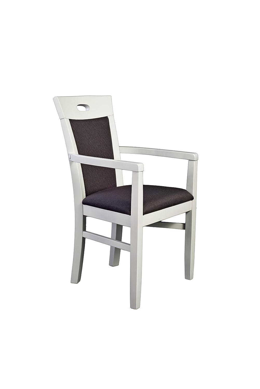 Armlehnstuhl in Buche massiv; Naturweiß lackiert; Maße:63x56x93 cm; SH 42 cm ST 48 cm