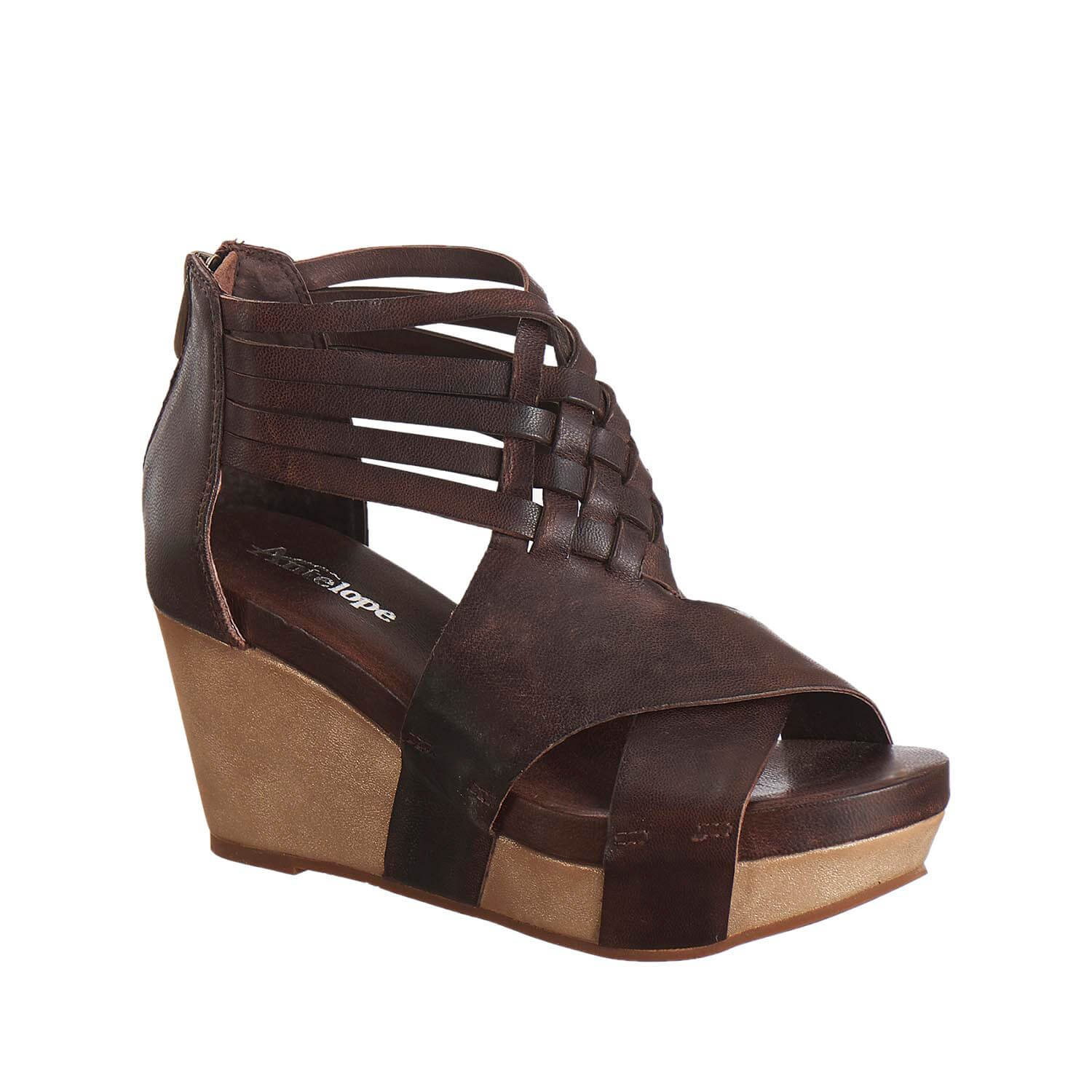 Antelope Women's 952 Coffee Leather Woven Ankle Band Sandals 39