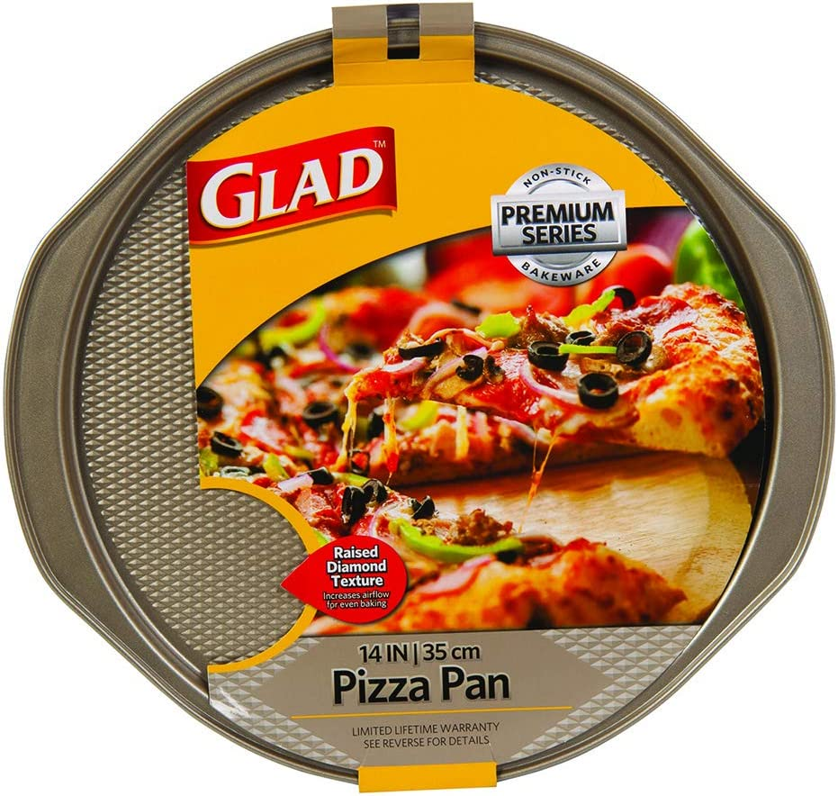 Glad Non-Stick Large Pizza Pan | Premium Oven Bakeware Series, 14 Inch, Gold
