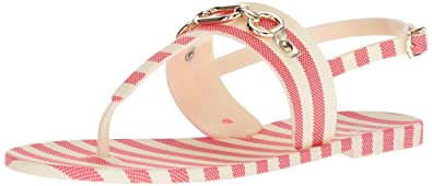 b5b1ba646365 Kate Spade New York Women s Polly Flat Sandal red Cream Striped Rubber 5  Medium US