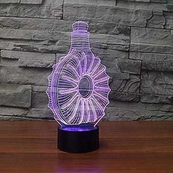 Luces de noche 3D Botellas de whisky Led Lámparas de mesa 7 ...