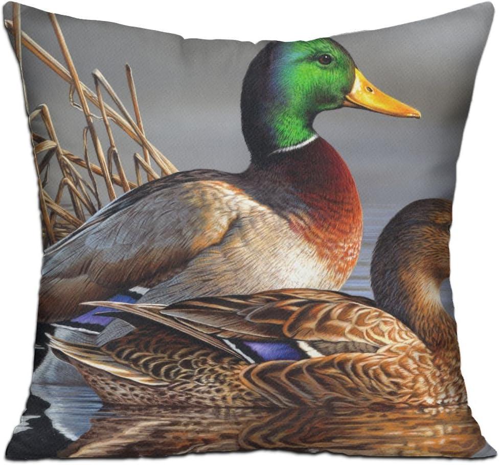 Amazon Com Wqbzl Mallard Duck Fashion Decorative Throw Pillow Deluxe Pillows 18 X 18 Home Kitchen