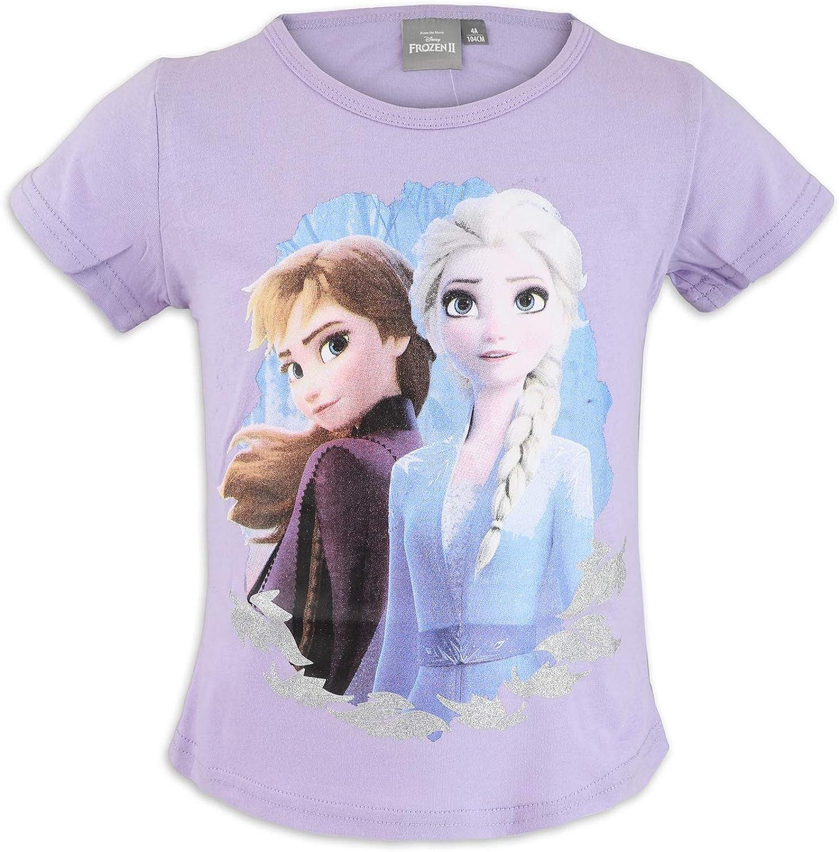 Cotone Bambina T-Shirt Maglia Maglietta Maniche Corte Disney Frozen 2