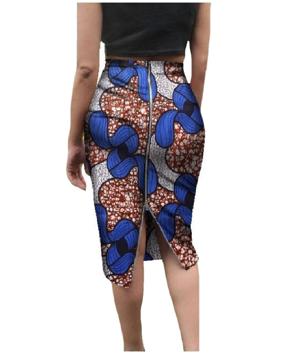 SportsX Womens Dashiki African Wax Fabric With Zips Fine Cotton Skirt argent S by SportsX (Image #1)