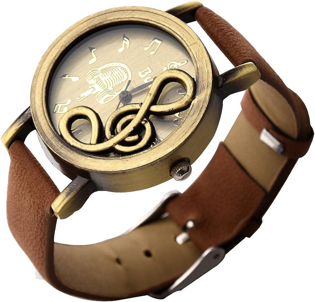 SODIAL(R) Nuevo Retro Reloj de movimiento de cuarzo de esfera de nota musical con reloj de pulsera de cuero PU Cafe