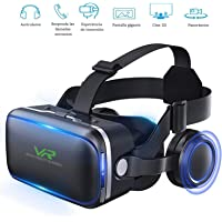 3D VR Gafas de Realidad Virtual, Gafas vr para Juegos Visión Panorámico 360 Grado Película 3D gafas de visión 100 ° 3d Movie Video Game Privado Theater con auriculares para iPhone 6/6 Plus iPhone 7/6S Plus Samsung S8 / S8 Plus Samsung Galaxy 4.7~6.0 pulgadas IOS Android Smartphon