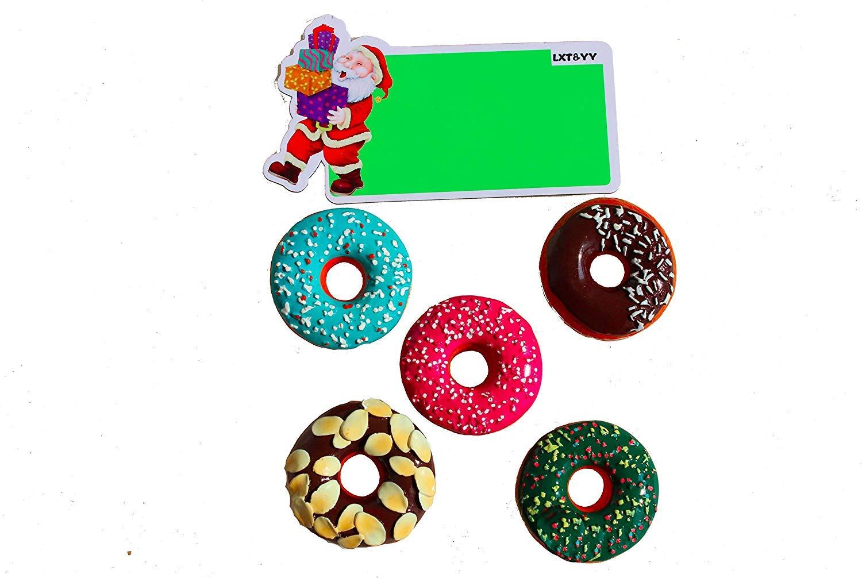5 pcs Random Color Sweet Donut Doughnut Fridge Magnet Refrigerator Message Magnet Magnetic Stickers Simulation Food Home Decor Message Board Refrigerator