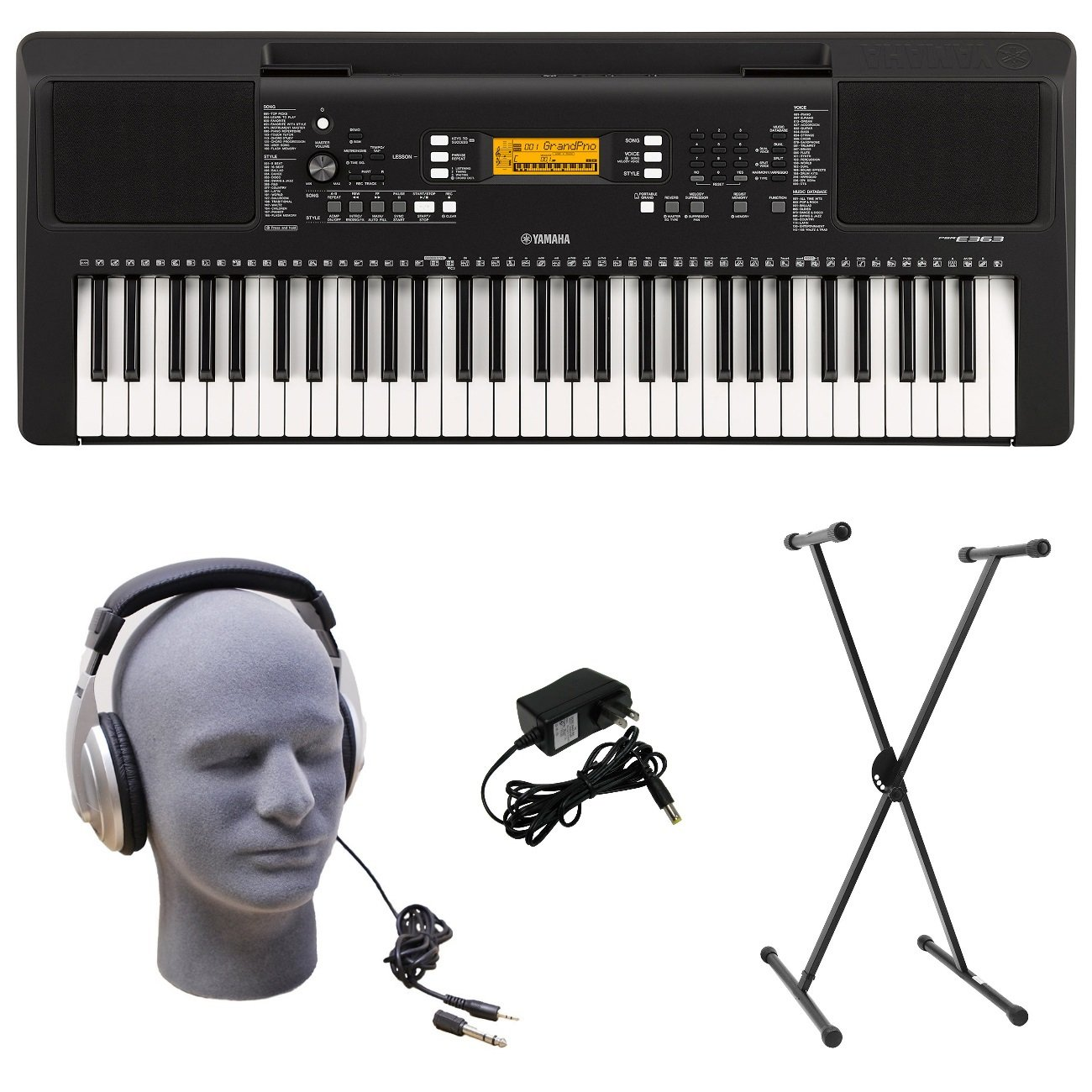 Yamaha Psr E363 Pks 61 Key Premium Keyboard Pack With Fc5 Pedal Wiring Diagram Stand Headphones Power Supply Musical Instruments