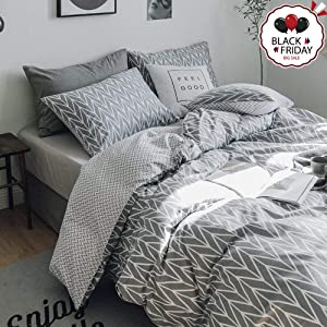 VCLIFE Grey Bedding Sets Twin, 100% Cotton Geometric Print Bedding Collection -1 Duvet Cover + 2 Pillowcases, Twin Luxury Soft Chevron Quilt Cover with 2 Pillowcases - Zipper Closure & Corner Ties