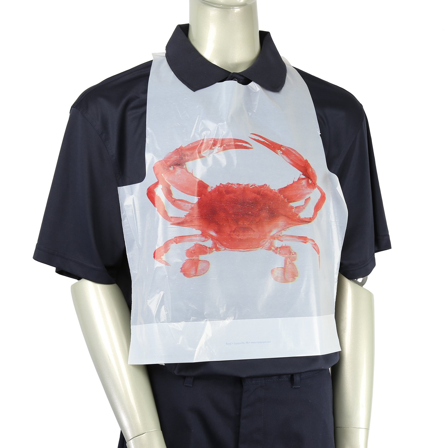 Royal Adult Poly Bibs with Crab Design, Package of 500