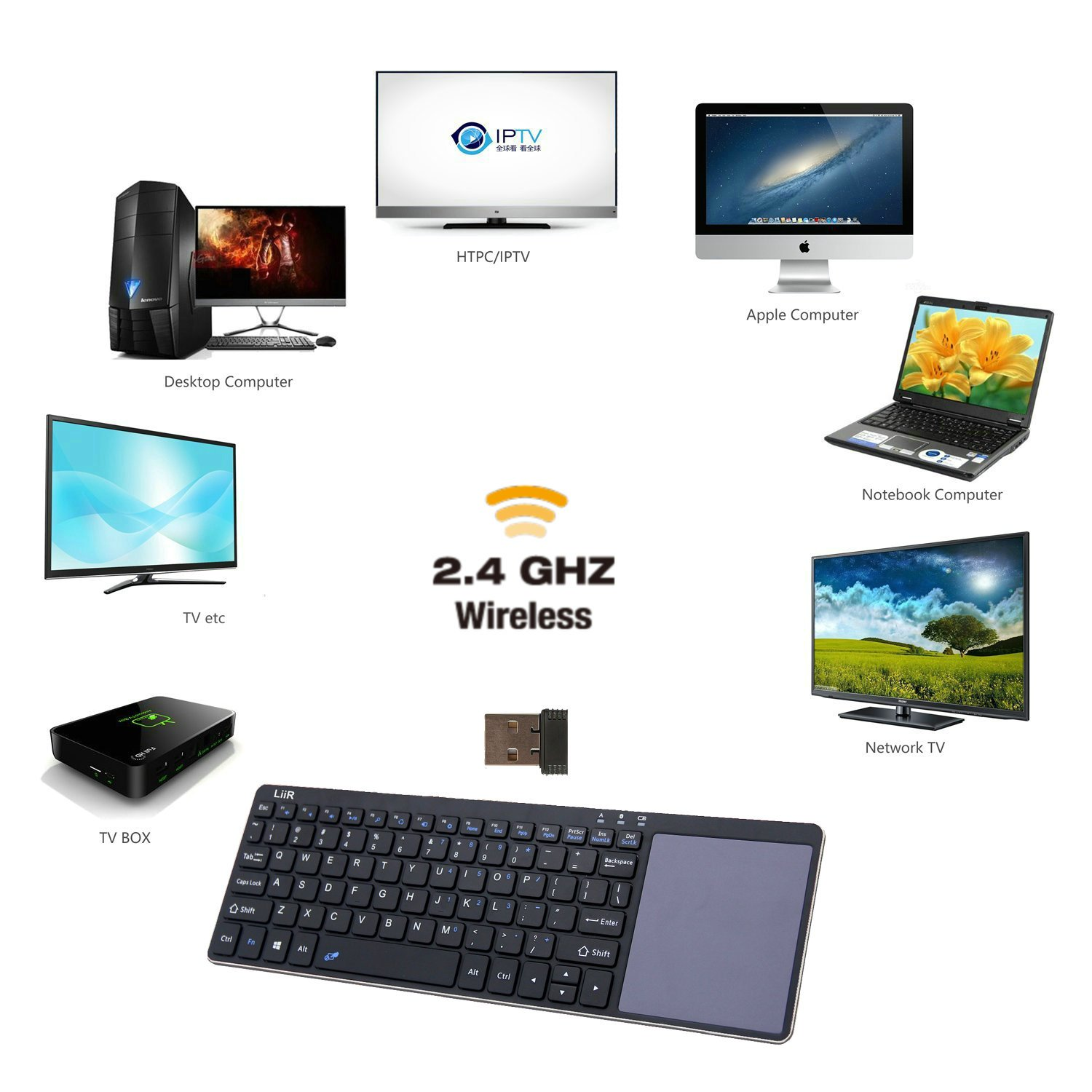 Linux//Android iOS Tablet PC//Galaxy Tabs/& Smart Phone LIIR Wireless Bluetooth Keyboard with Multi Touchpad,Touch Keyboard for Windows no Battery Black