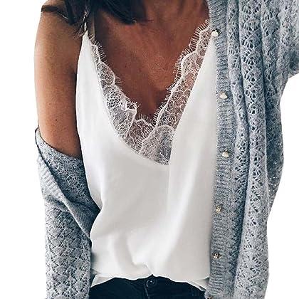 lotus.flower 2018 Womens Chiffon Sexy Lace Vest Fashion V-Neck Cotton  Sleeveless T-Shirt (XL b91c25540
