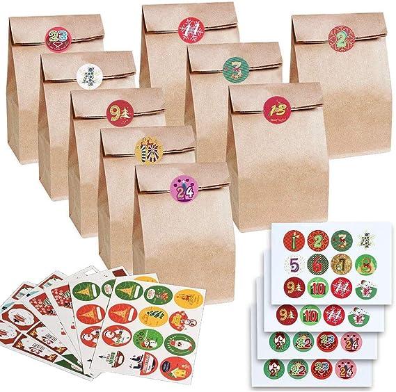 Image ofLIZHIGE Calendario de Adviento,Bolsas de Papel con Pegatinas para Calendario de Adviento, ideal para bodas, cumpleaños o fiestas de Navidad