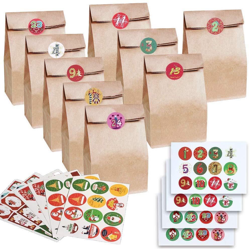 Sacchetto regalo in carta kraft Calendario dellAvvento 24 Sacchetti di Carta con Natalizi Adesivi di Tenuta Sacchetti Regalo Ideale per matrimonio compleanno o per regali di Natale