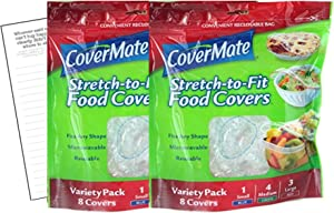 Covermate Stretch-to-fit Food Covers 2pk plus Convenient Magnetic Shopping List by Harper & Ivy Designs, Reusable, Dishwasher Safe, Microwavable, BPA/PVC Free, Great for Leftovers, Heavy Duty, 3 Sizes