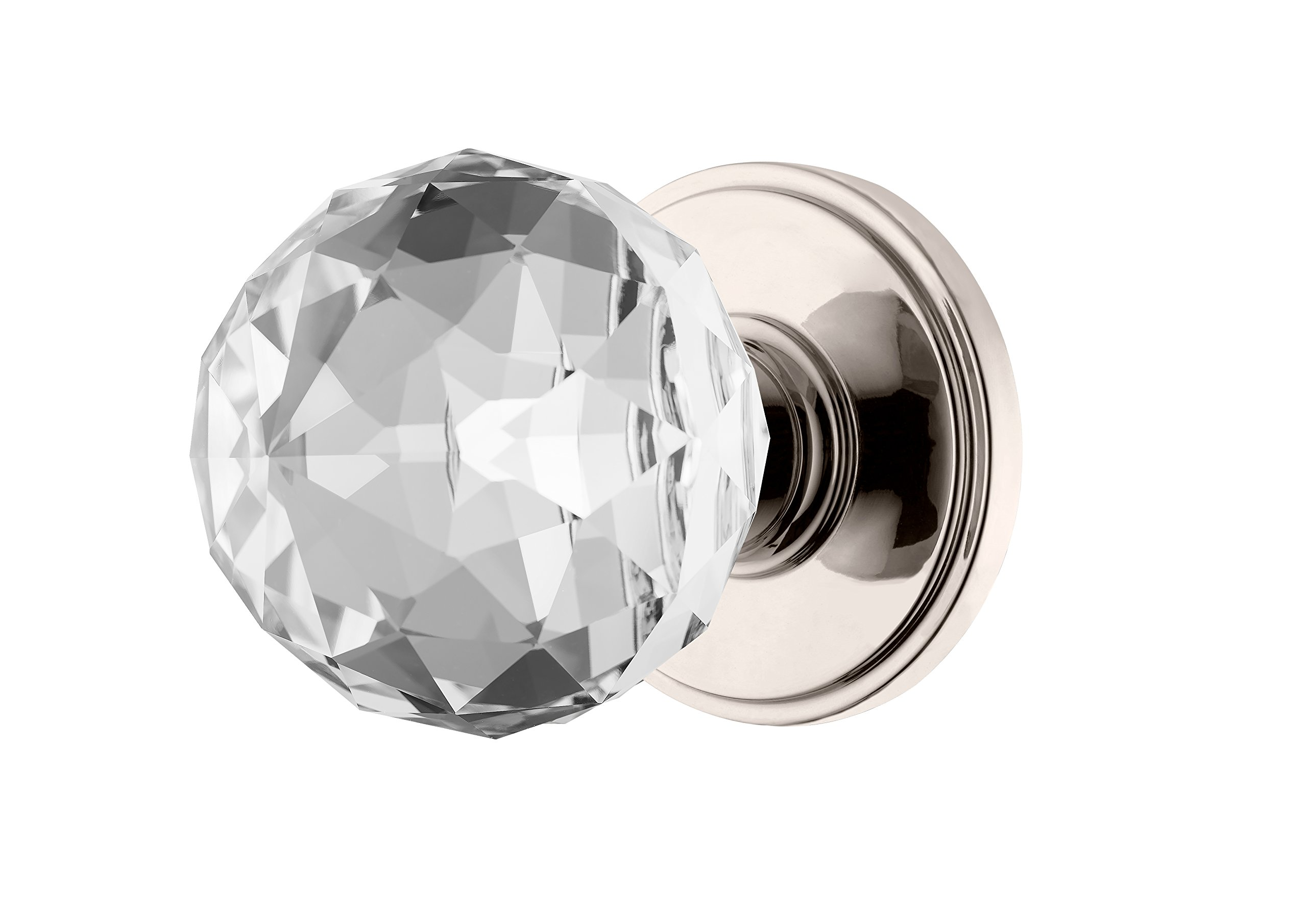 Decor Living, AMG and Enchante Accessories Faceted Crystal Door Knobs with Lock, Privacy Function for Bed and Bath, IRIS Collection, DK04L-PR NKL, Polished Nickel