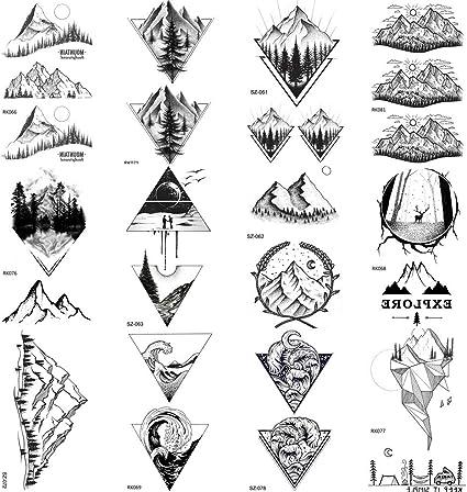 COKTAK 12 Hojas Bosque Negro De MontañA Tatuajes Temporales Para ...