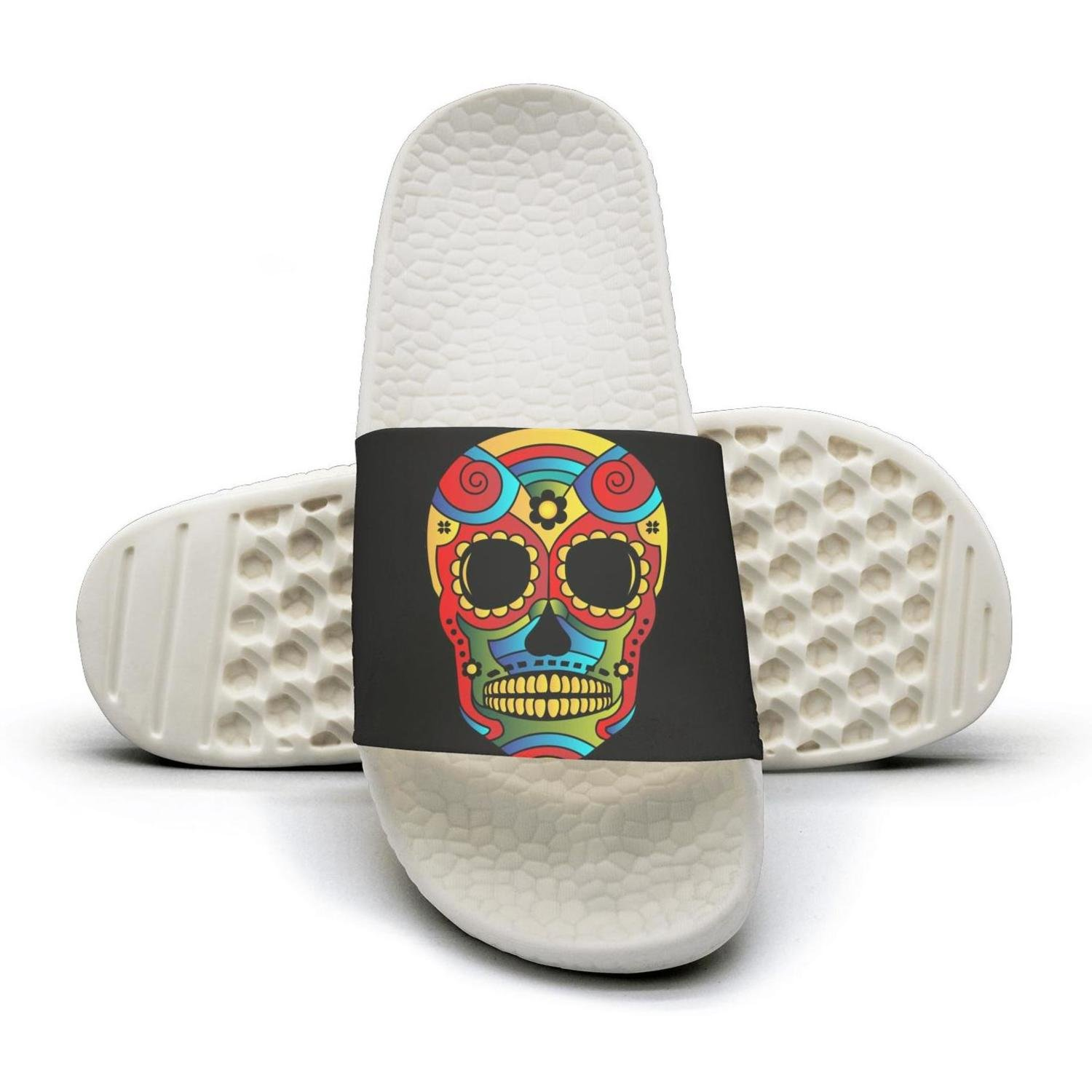 PPLLMMA Candy Skull Mexico Day of Dead Image Mens Shower Athletic Slides Sandal Slippers Flip Flops