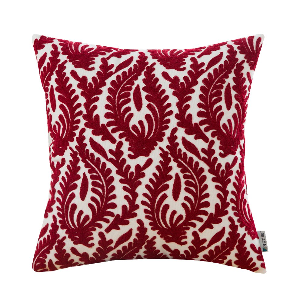 HWY 50 Cotton Embroidered Decorative Throw Pillow Covers Cushion Cases for Couch Sofa Bed Bedroom European Wine Red Abstract Branches Burgundy 18 x 18 inch 45 x 45 cm,1 Piece