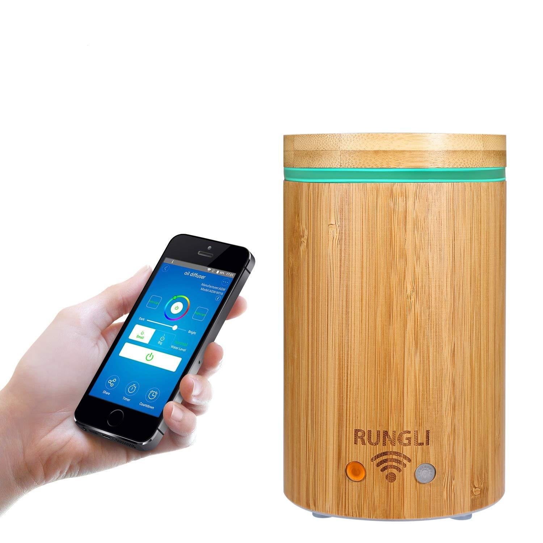 Rungli竹スマートEssential Oil Diffuser超音波アロマテラピー加湿器クールミスト、App音声コントロールWork with Alexaエコー B073F6LX7L