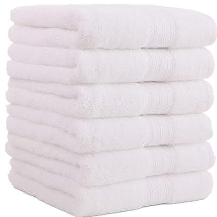 Toallas de mano grandes de algodón (Blanco, paquete de 6, 40 x 72