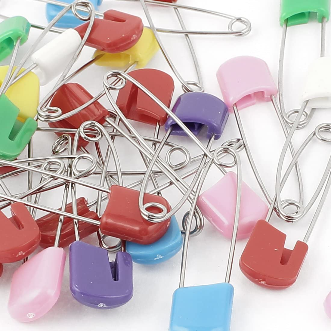sourcingmap Cloth Metal Diaper Nappy Safety Pins Hold Clip Assorted Color 30pcs