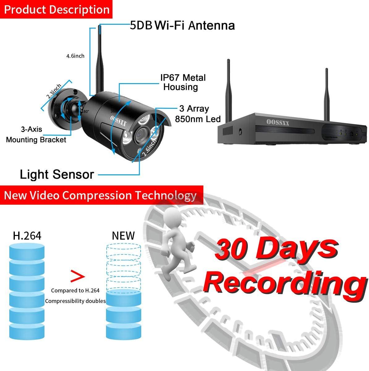 1080P 8CH No HDD 150 Watt IP-Au/ßenkameras mit Festplatte Schwarz 1080P System OOSSXX Drahtloses /Überwachungskamerasystem NVR 8CH mit Nachtsicht IP67 720P