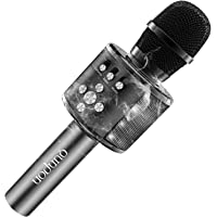【2019高品質版】カラオケマイクBluetooth 高音質 音楽再生 ポータブルスピーカー ワイヤレスマイクTFカード機能付き エコー機能搭載 録音可能 イヤレスマイク (ブラック)