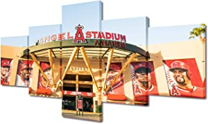 """Wall Decor Art Paintings 5 Piece Angel Stadium Entrance Baseball Player Poster Canvas Picture MLB Sports Artwork for Living Room Anaheim Angel Baseball Field Home Decoration Ready to Hang(50""""Wx24""""H)"""