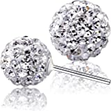 925 Sterling Silver Crystals from Swarovski White Round Disco Ball Stud Earrings 8mm for Women and Girls