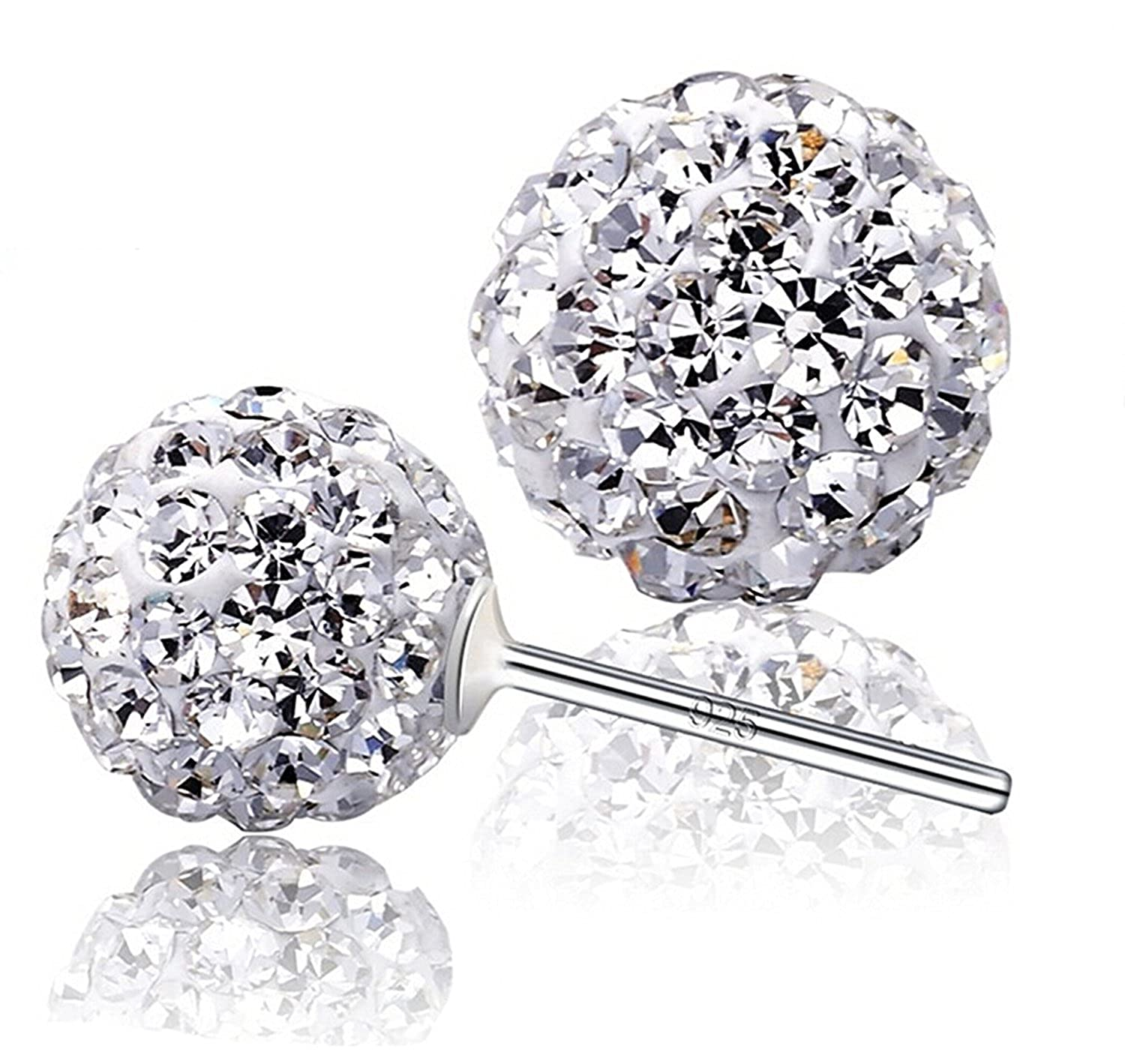 0bc3e7709f899 925 Sterling Silver Crystals from Swarovski White Round Disco Ball Stud  Earrings 8mm for Women and Girls