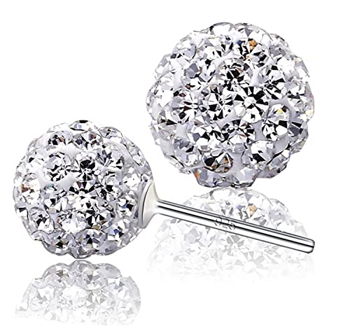 ec530baa3 Amazon.com: 925 Sterling Silver Crystals from Swarovski White Round Disco Ball  Stud Earrings 8mm for Women and Girls: Jewelry