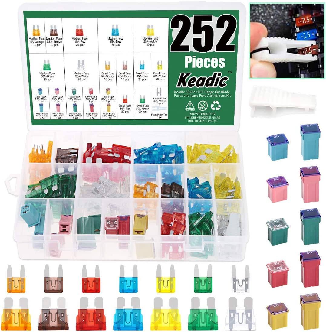 Keadic 252Pcs Full Range Car Blade Fuses Assortment Kit, Automotive Assorted Fuses with a Puller Tool for Ford Chevy/GM Nissan and Toyota Pickup Trucks Cars and SUVs - 5A 7.5A 10A 15A 2