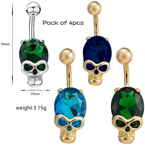 633dde68da04 Amazon.com  14G Belly Button Ring Set Sexy Skull Style Sparkly Zirconia  Navel Bars Body Piercing Jewelry for Girl Students Ladies  Jewelry