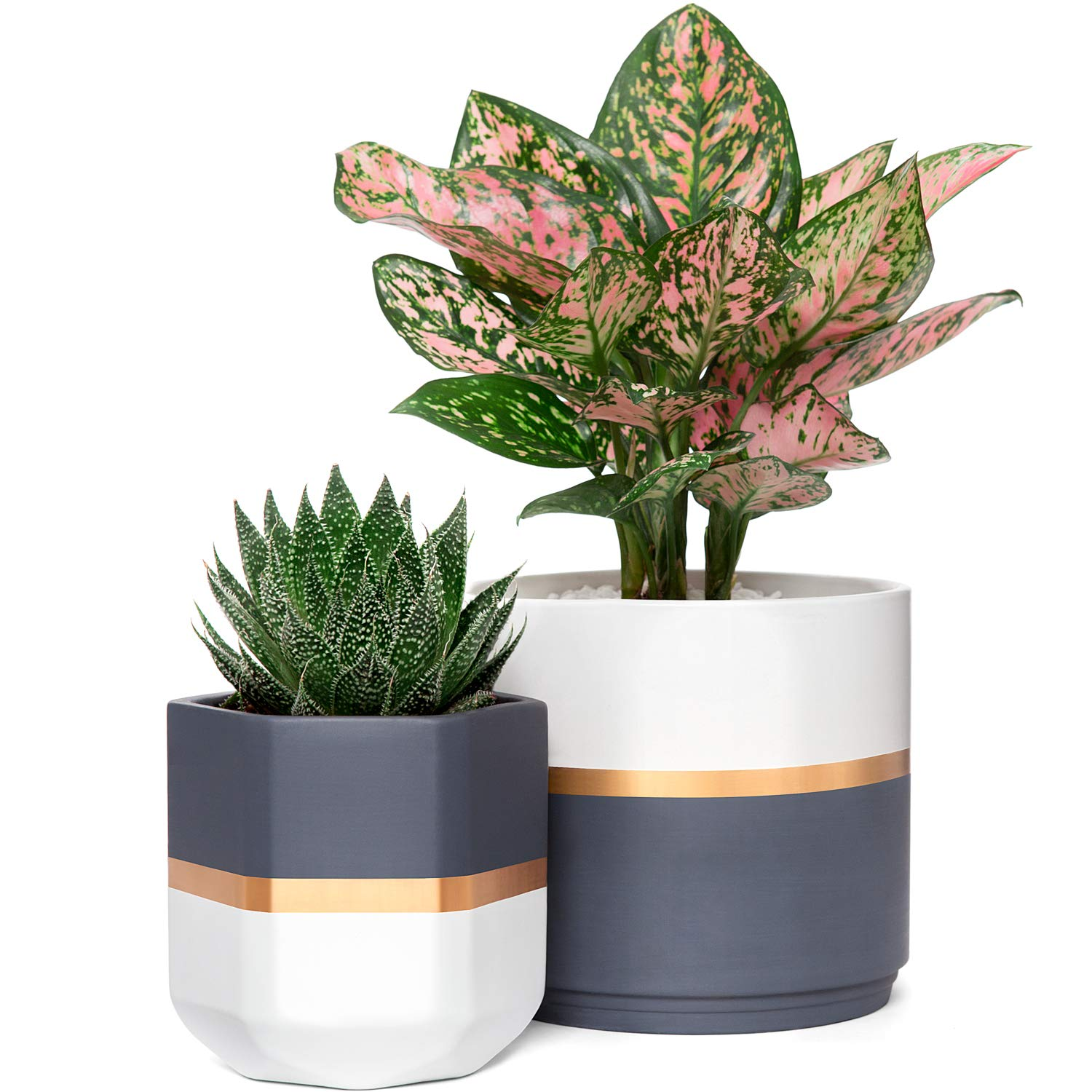 Mkono Ceramic Flower Pot Modern Garden Planters Indoor Outdoor Geometric Plant Containers with Drainage, Gold and Grey Detailing for All House Plants, Herbs, Flowers, Set of 2 Plants NOT Included
