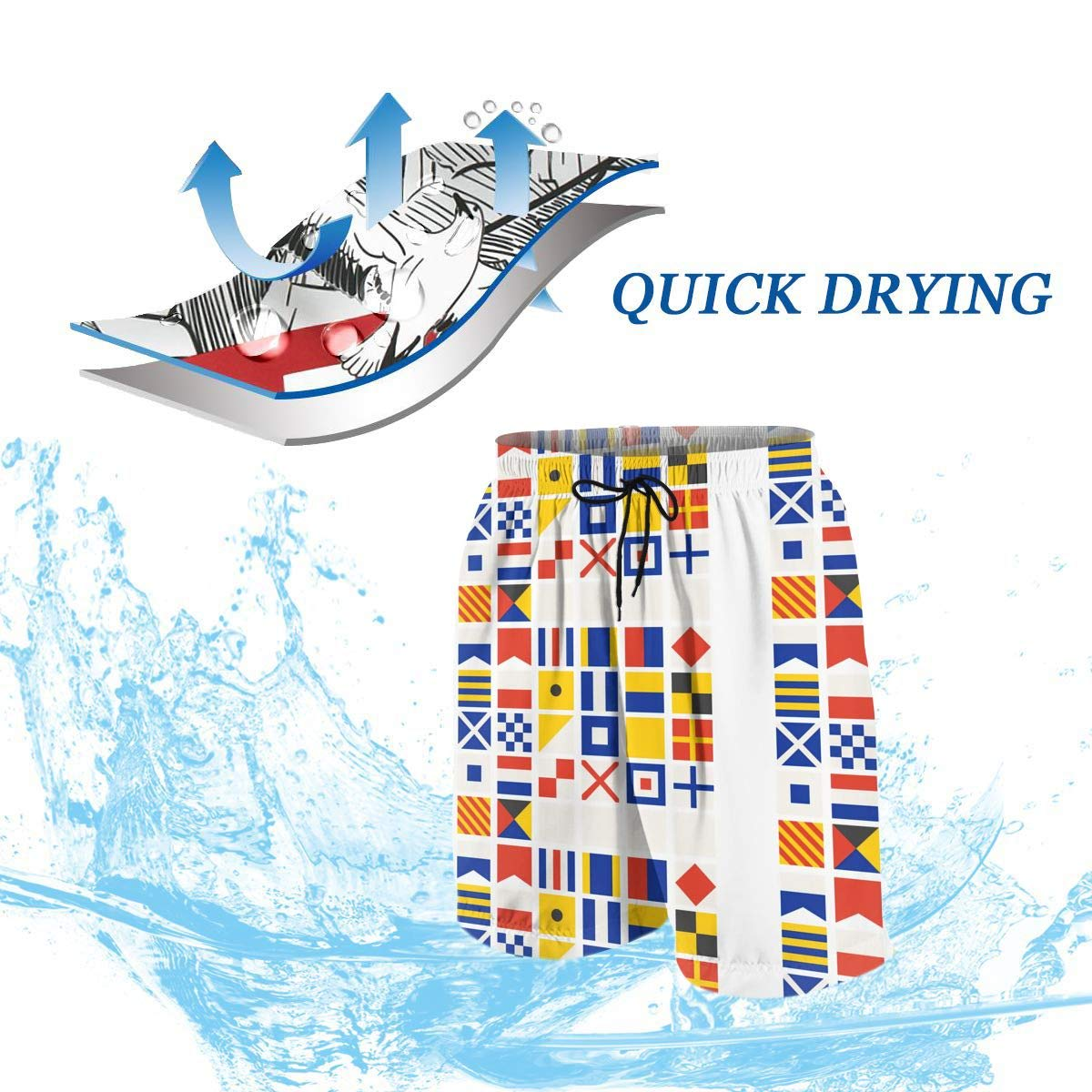 Nautical Bunting Maritime Signal Flags Teenagers Running Swim Board Shorts