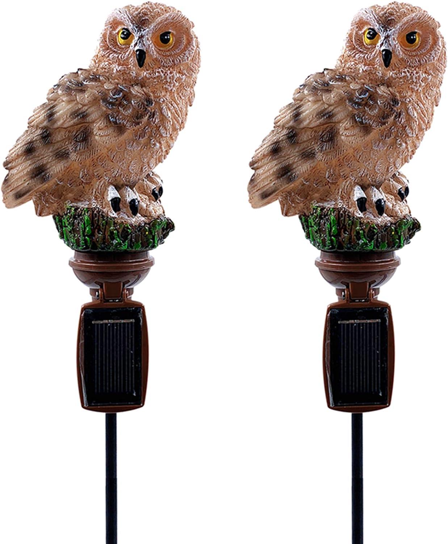 Solar Brown Owl Outdoor Garden Light (2pcs)