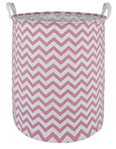 DUYIY Canvas Storage Basket with Handle Large Organizer Bins for Dirty Laundry Hamper Baby Toys Nursery Kids Clothes Gift Basket(Pink Wave)