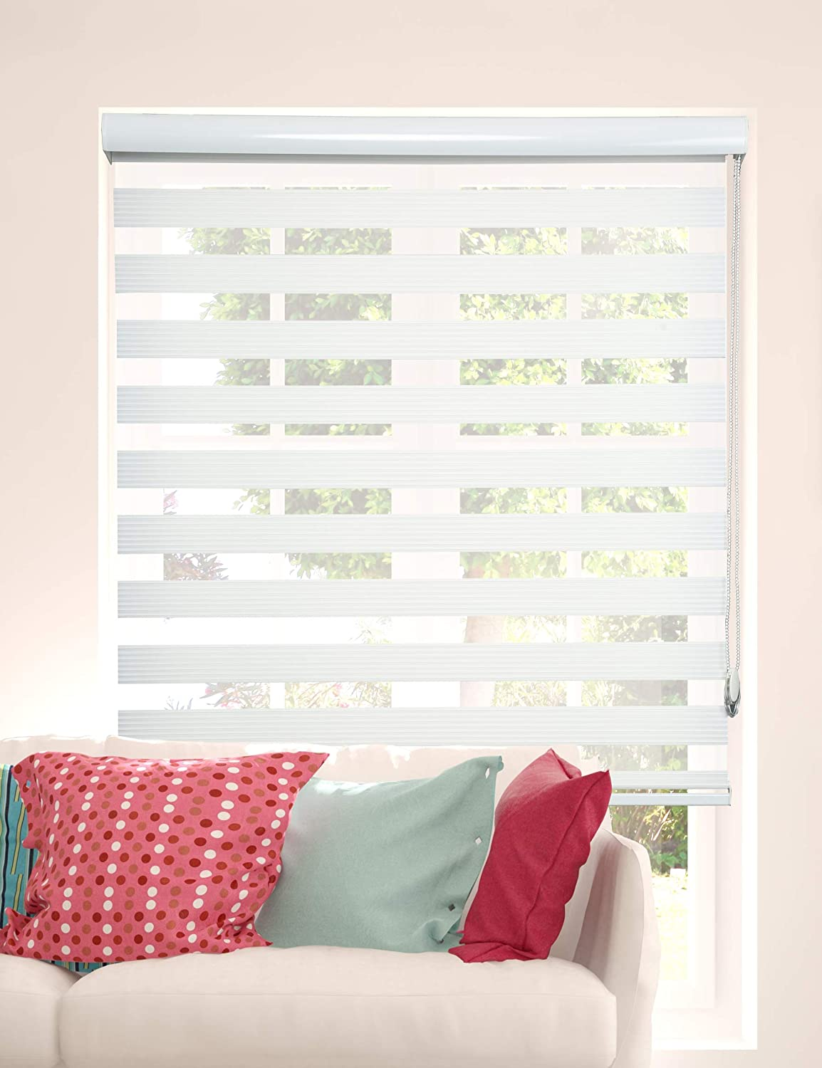 ShadesU Custom Made Size Zebra Dual Layer Roller Sheer Shades Blinds Light Filtering Window Treatments Privacy Light Control for Day and Night (White Color) (Width 52inch) (Height 47inch)