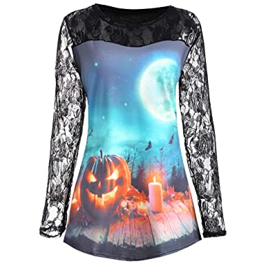 ... Prime Pink Long Sleeve Black White Halloween,Women Halloween Pumpkin Print Long Sleeve Shirt Casual Lace Blouse Tops T Shirt: Amazon.co.uk: Clothing