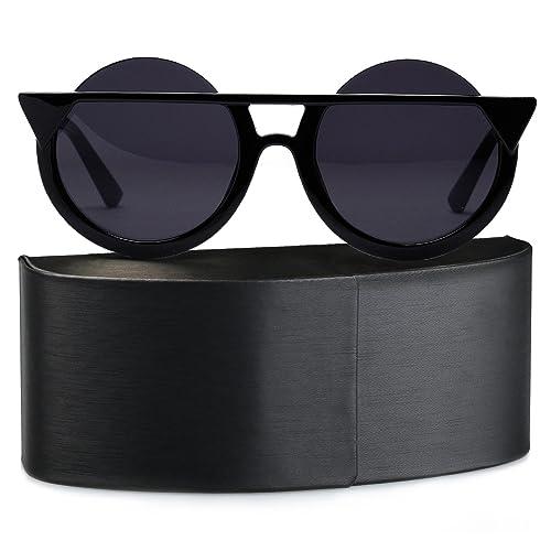 SUNVON Unisex Retro Occhiali da Sole Occhi di Gatto Donna Uomo Occhiali Colorati Lente Rotondi Polarizzate UV400